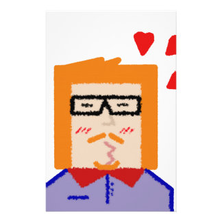 Redhead hipster lover funny cartoon personalized stationery