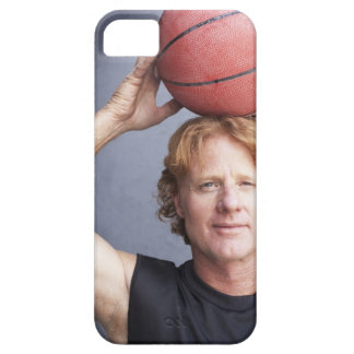 Redhead holding a basket ball over his head iPhone 5 case