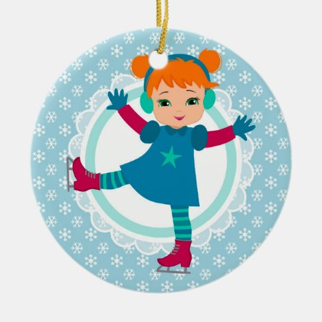 Redhead Ice Skater - Winter Sports Skating Ceramic Ornament