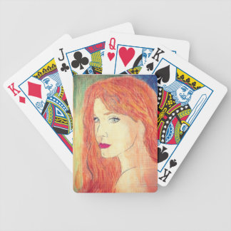redhead in chalk pastels playing cards