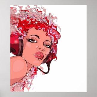 Redhead in Headphones Poster