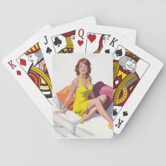 Redhead in Yellow Dress, Feet on Couch Pin Up Art Playing Cards