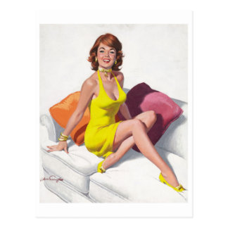 Redhead in Yellow Dress Postcard