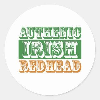 Redhead irlandés auténtico etiquetas redondas