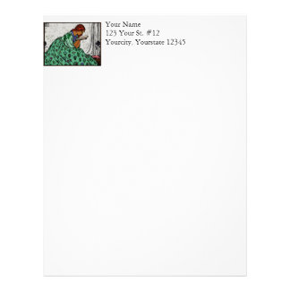 Redhead Lady In a Green Dress Reading Letterhead