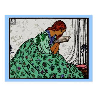 Redhead Lady In a Green Dress Reading Postcard