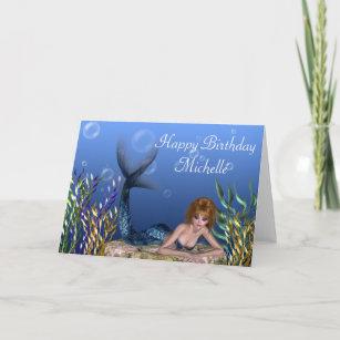 Redhead Mermaid Fantasy Customizable Birthday Card