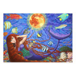 Redhead Mermaid in Corset with Moon and Fish Business Card Template