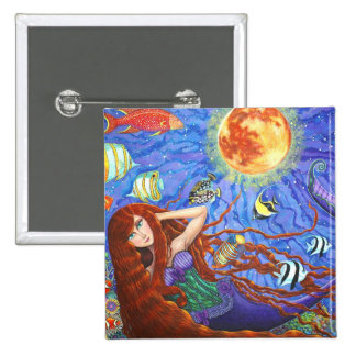 Redhead Mermaid in Corset with Moon and Fish Button