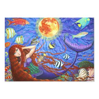 Redhead Mermaid in Corset with Moon and Fish Card