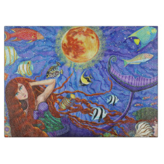 Redhead Mermaid in Corset with Moon and Fish Cutting Board