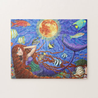 Redhead Mermaid in Corset with Moon and Fish Jigsaw Puzzle