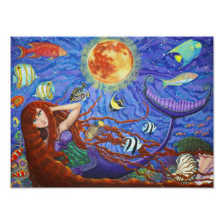 Redhead Mermaid in Corset with Moon and Fish Poster