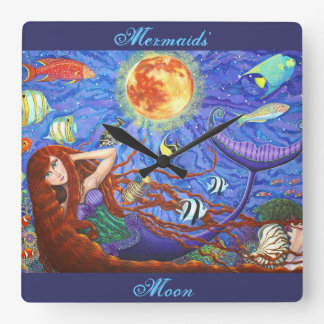 Redhead Mermaid in Corset with Moon and Fish Square Wall Clock