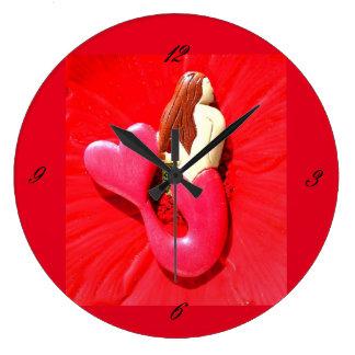 Redhead  mermaid large clock