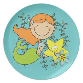 Redhead Mermaid Melamine Plate