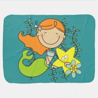 Redhead Mermaid Stroller Blanket