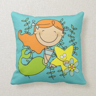 Redhead Mermaid Throw Pillow