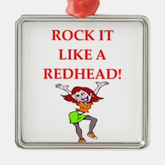 redhead metal ornament