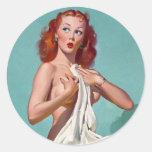 Redhead Patient Pin Up Round Sticker