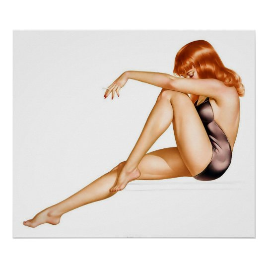 Redhead Pinup Girl in One Piece Bathing Suit Poster