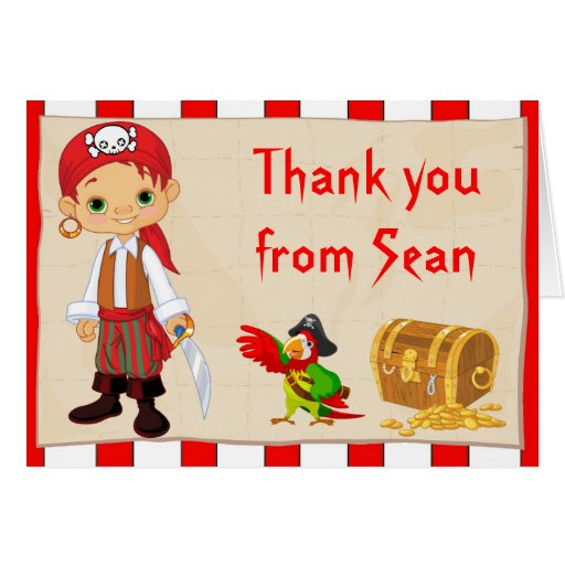 Redhead pirate boy birthday thank you note card