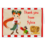 Redhead Pirate Girl Birthday Thank You Note Card