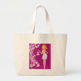 redhead pregnant woman large tote bag