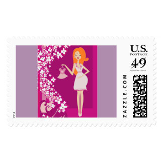 redhead pregnant woman postage postal stamps