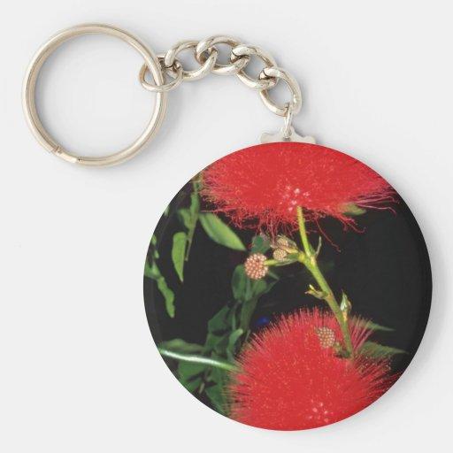 Redhead puff flowers basic round button keychain