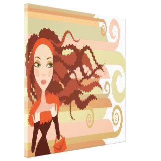 Redhead Rasta Girl Wrapped Canvas