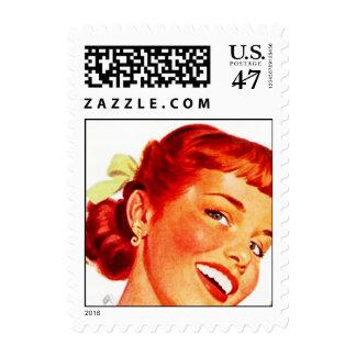 Redhead retro - señora feliz Gal Stamps de LOL Timbres Postales