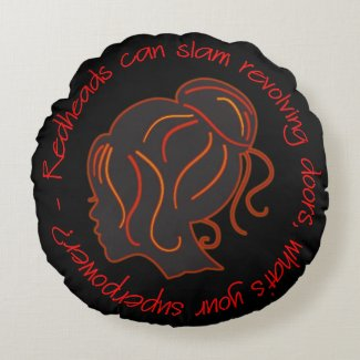 Redhead Silhouette Redheads Can Slam Revolving Doo Round Pillow