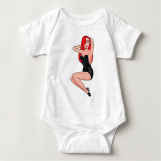 Redhead swimsuit pin up baby bodysuit