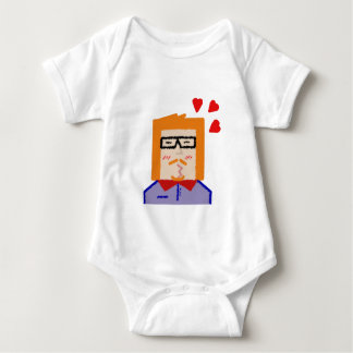 Redhead to hipster to lover funny cartoon baby bodysuit