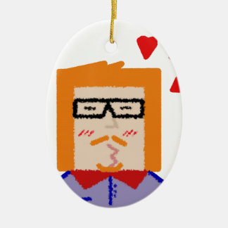 Redhead to hipster to lover funny cartoon ceramic ornament
