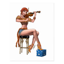 pinup, al rio, art, drawing, redhead, high heels, gypsy, violin, fiddle, legs, Cartão postal com design gráfico personalizado