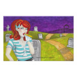 Redhead w Kazoo in Graveyard dark art poster print