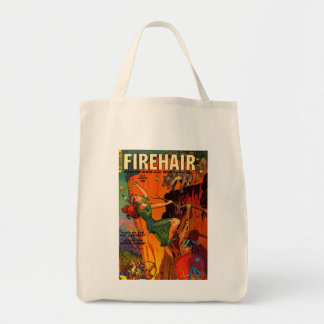 Redhead Warrior Maid Fighting Wolves Grocery Tote Bag