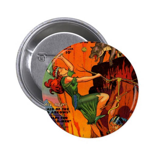 Redhead Warrior Maid Fighting Wolves Button