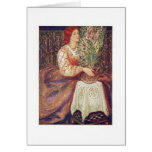 Redhead with Flowers Greeting Card