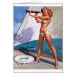 Redhead with Spyglass Pin Up Card