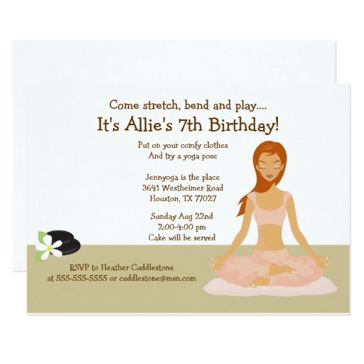 Redhead Yoga Girl Birthday Party 5x7 Invitation
