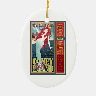 redheaded coney island mermaid beauty ceramic ornament