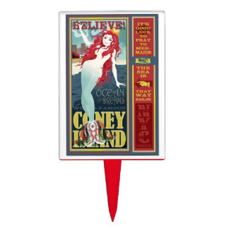 redheaded coney island mermaid cake topper