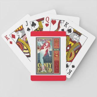 redheaded coney island mermaid playing cards