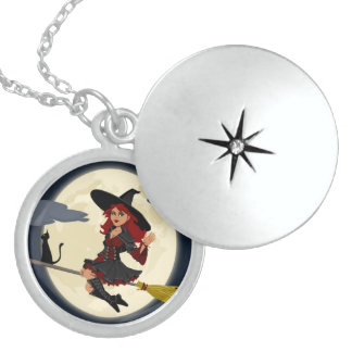 REDHEADED HALLOWEEN WITCH LOCKET NECKLACE