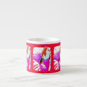 Beach Themed redheaded heart-tail mermaids Thunder_Cove Espresso Cup
