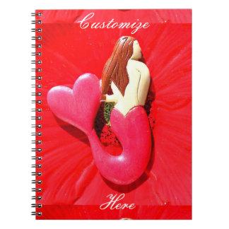 redheaded heart-tailed mermaid notebook