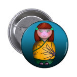 Redheaded Kokeshi, button 6 Cm Round Badge